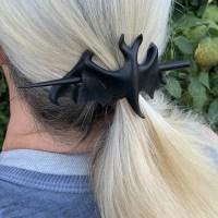 black bat leather hair stick barrette