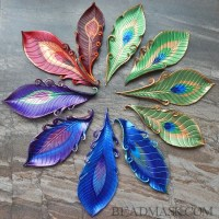 leather peacock feathers