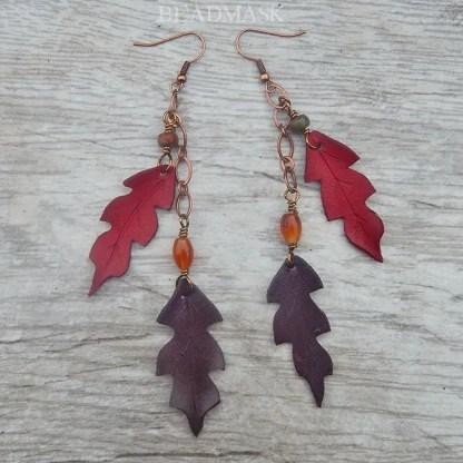 red oak leather leaf dangle earrings