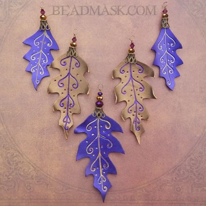 bronze and purple leather leaves