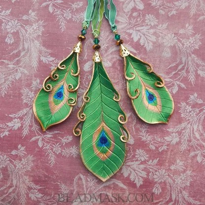 emerald leather peacock feather ornaments