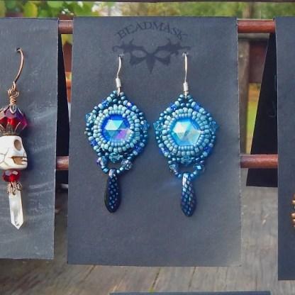 beaded cabochon earrings