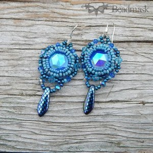 vintage glass cabochon earrings
