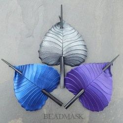 Leather birch leaf barrettes in fantasy colors.