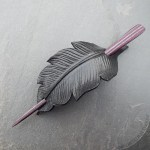 Leather crow feather hair slide barrette with  striped wood stick in burgundy and plum