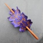 Fae oak leaf leather hair slide in purple and bronze