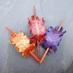 Fairy oak leaf leather hair stick barrettes