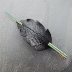 Leather crow feather hair slide barrette with Summer striped wood stick