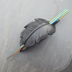 Leather crow feather hair slide barrette with vibrantly colored striped wood stick