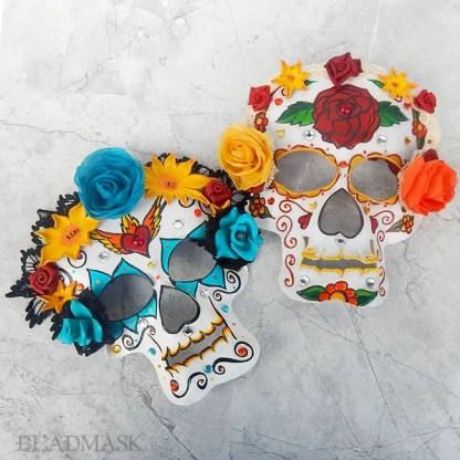 leather sugar skull masks