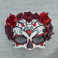 day of the dead mask with red roses