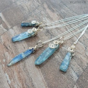 blue kyanite and sterling silver pendants