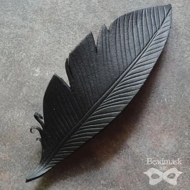 Iridescent Crow Feather Leather Barrette Beadmask