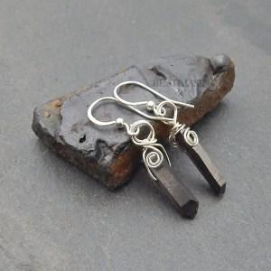 gunmetal quartz and sterling silver earrings
