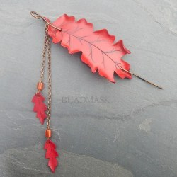 falling leaves leather oak leaf barrette