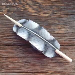 grey hawk feather barrette