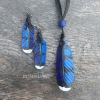 leather blue jay feather pendant and earrings