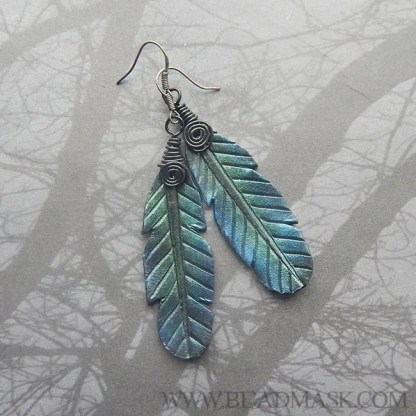 leather ravenfeather earrings