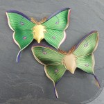 leather luna moth barrettes in emerald and olive green