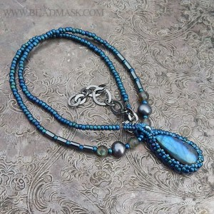 beaded pendant necklace with labradorite cabochon