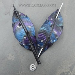 Cosmic crow leather hair slide barrettes