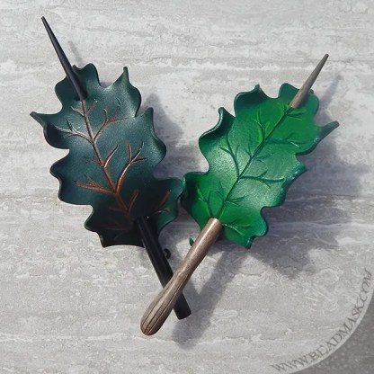 oak leaf leather hair slides