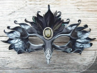 jeweled raven leather mask