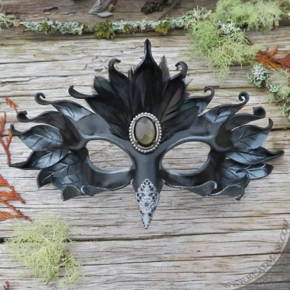 Silver raven leather mask with jeweled accents