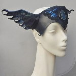 Black winged leather crown with labradorite.