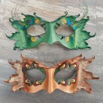 woodland leather masks with feather work detail