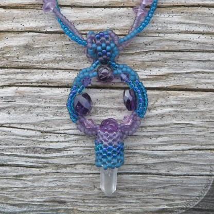 beaded amethyst mandala necklace
