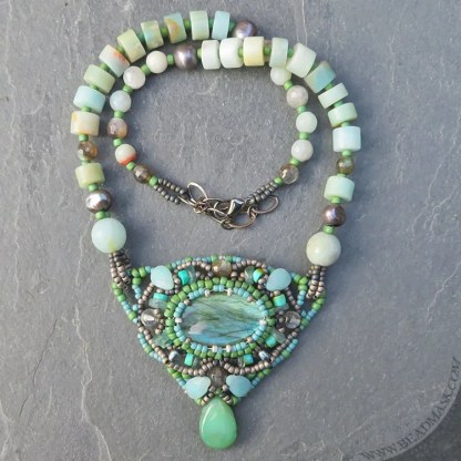labradorite and amazonite beaded necklace