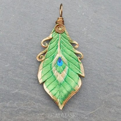 leather feather pendant - peacock