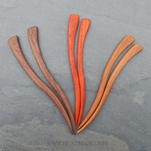 handcrafted wavy hardwood hair stick sets