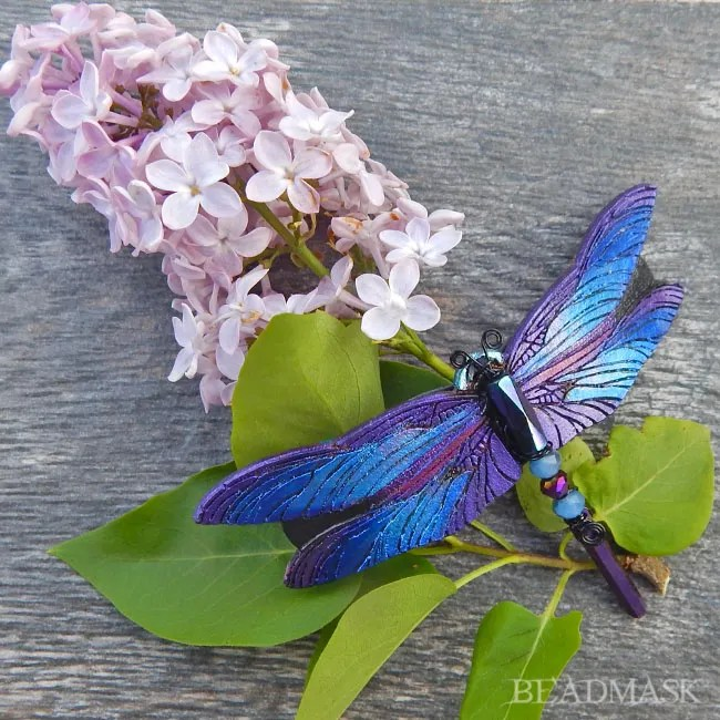 purple and blue leather dragonfly barrette with quartz crystal dangle