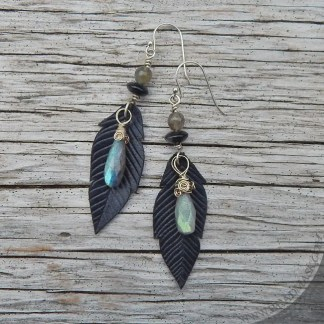 leather crow feather earrings with labradorite
