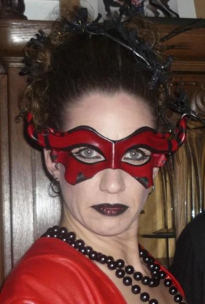 red leather devil mask