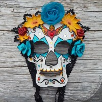 leather sugar skull mask
