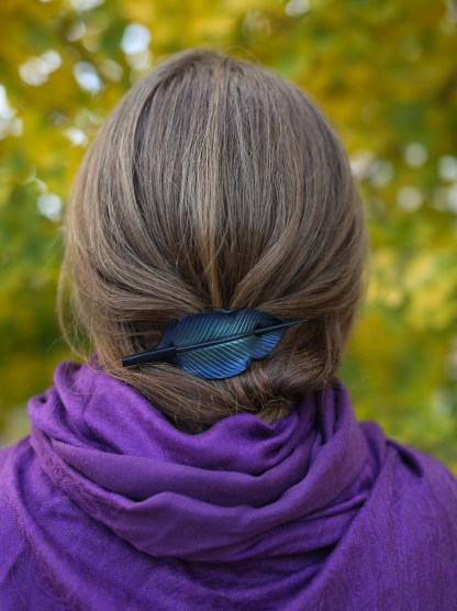 leather raven feather ponytail holder