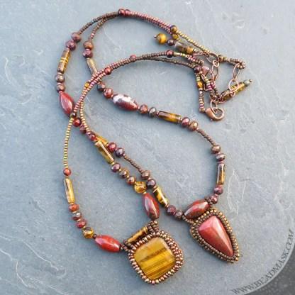 beaded gemstone layering necklaces