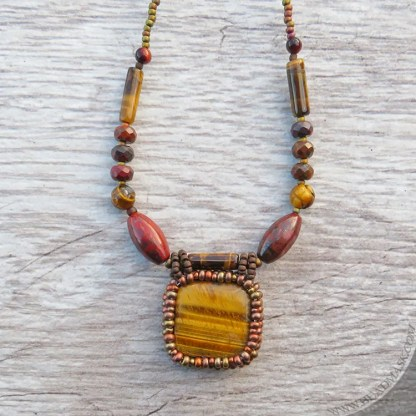 beaded tiger eye necklace