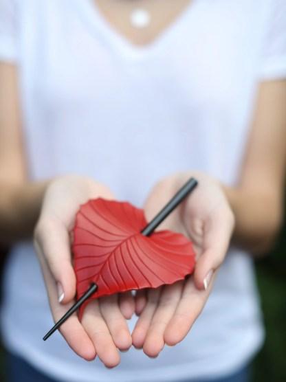 leather birch leaf ponytail holder