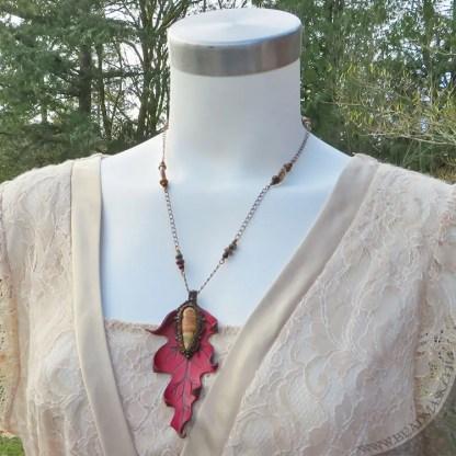 oak leaf leather pendant necklace
