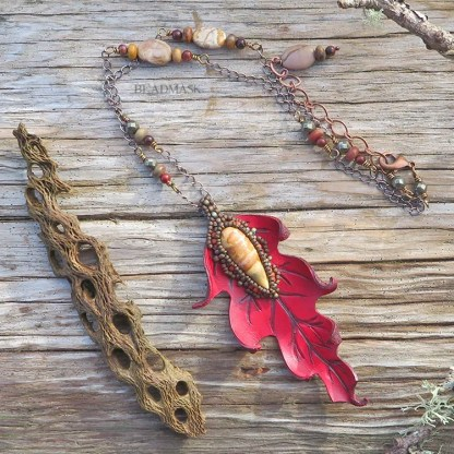 oak leaf leather pendant necklace