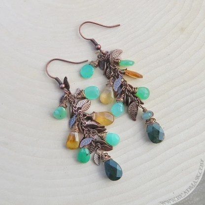 faceted gemstone earrings in pale green and golden yellow