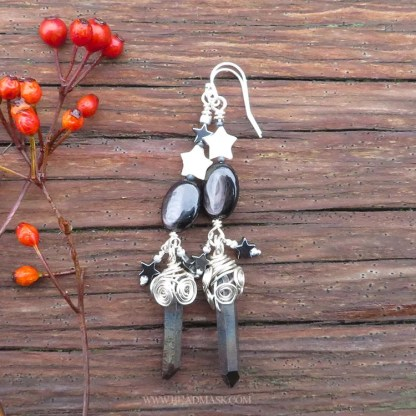 Celestial gemstone earrings with quartz crystals and sterling silver