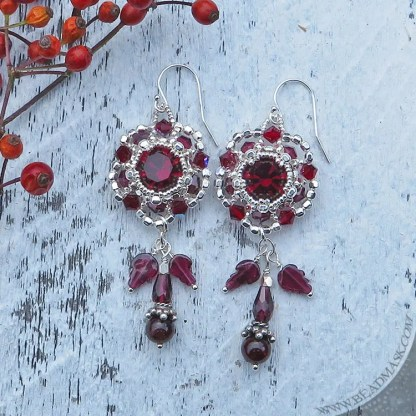 Swarovski and garnet beaded earrings with sterling silver