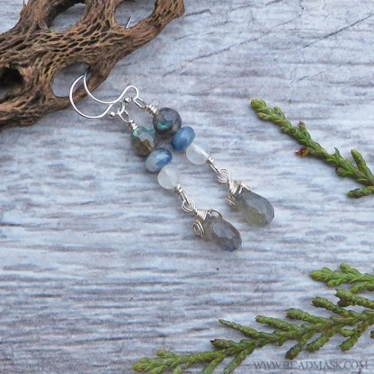 sterling silver earrings with blue and white gemstones