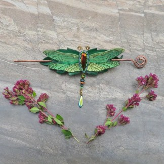 beaded leather dragonfly hair stick barrette