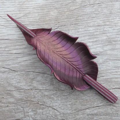 burgundy leather feather hair stick